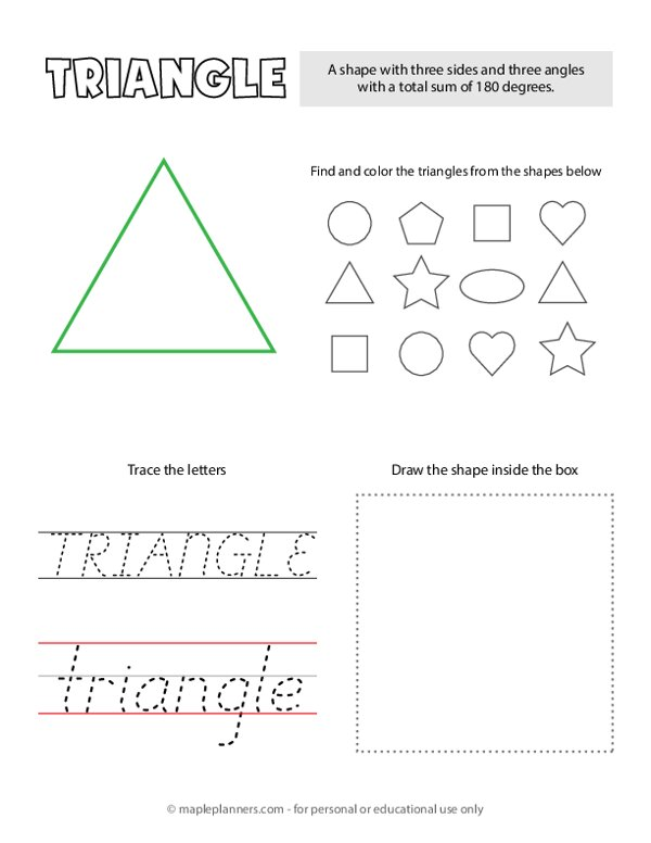Trace and Color the Triangle Shapes