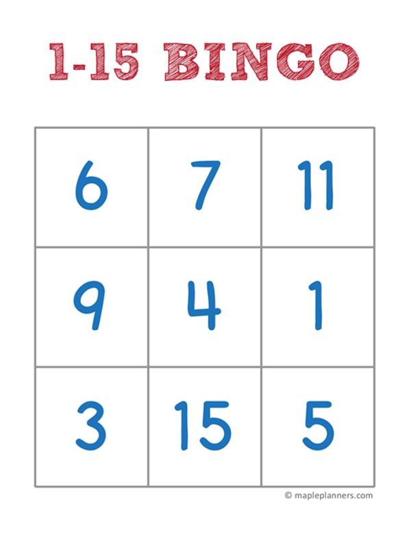 1-15 Number Bingo