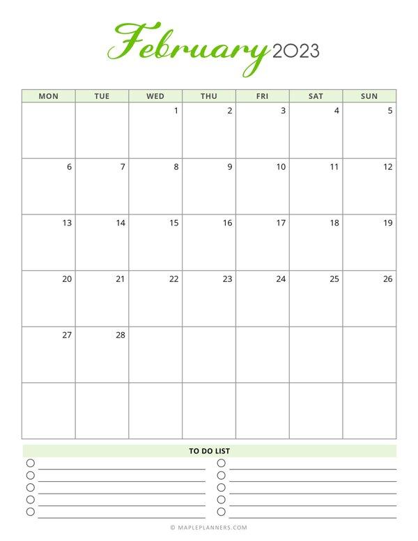 February 2023 Monthly Calendar - Monday Start