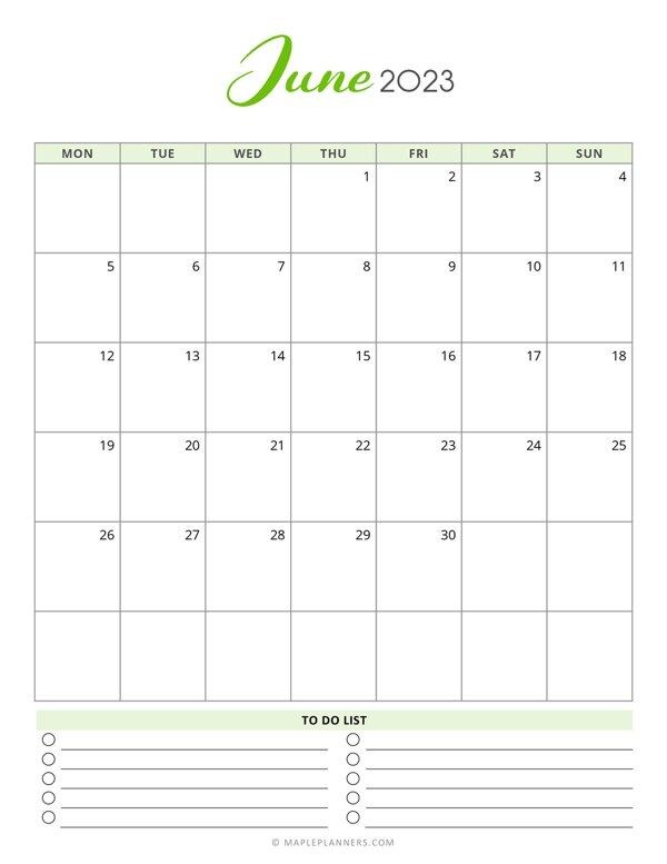 June 2023 Monthly Calendar - Monday Start