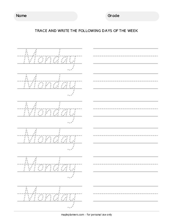 Trace the Days of the Week - Monday