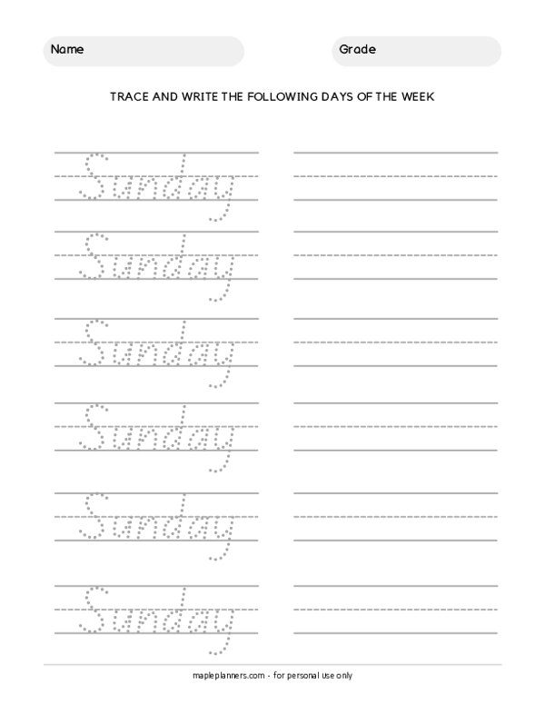 Trace the Days of the Week - Sunday