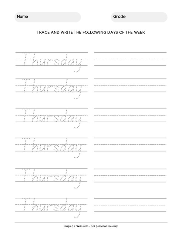 Trace the Days of the Week - Thursday