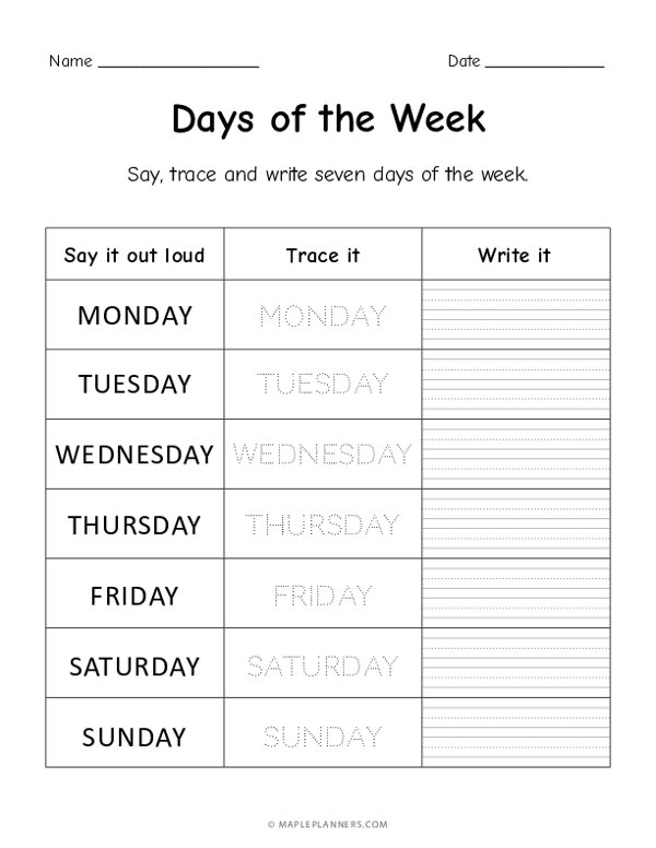 Days of the Week - Trace and Write