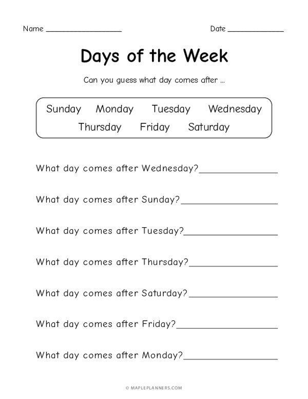 Days of the Week - What day comes after?