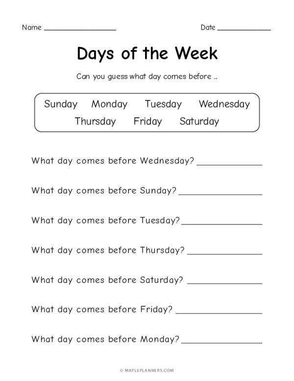 Days of the Week - What day comes before?