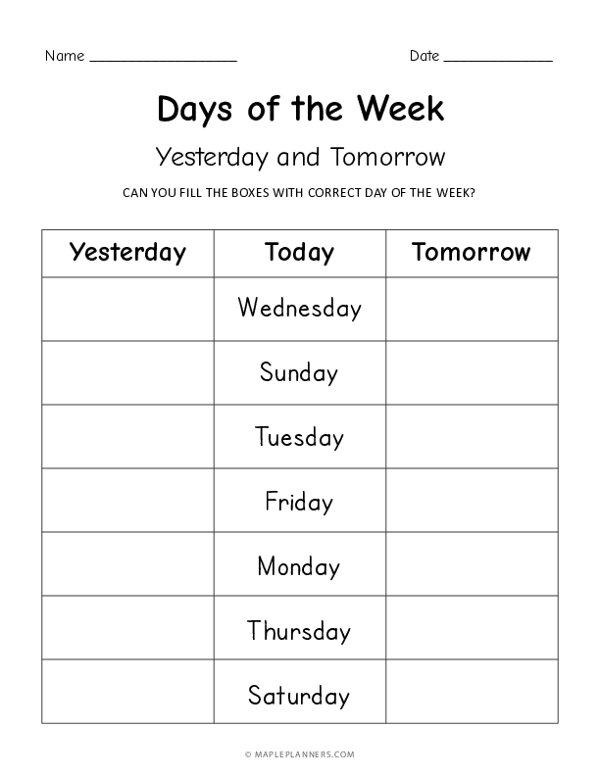 Days of the Week - Yesterday Today Tomorrow