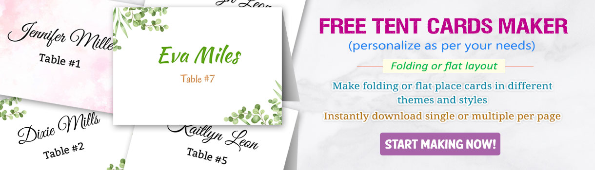 online tent cards and place cards maker