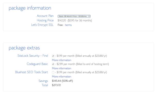 Select your Account Plan with Bluehost