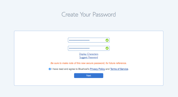 Set your password for Bluehost account