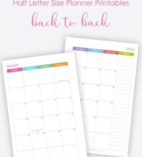How to print half letter size planner printables back to back