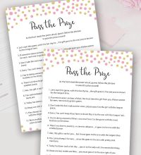 Pink Gold Pass the Prize Baby Shower Game
