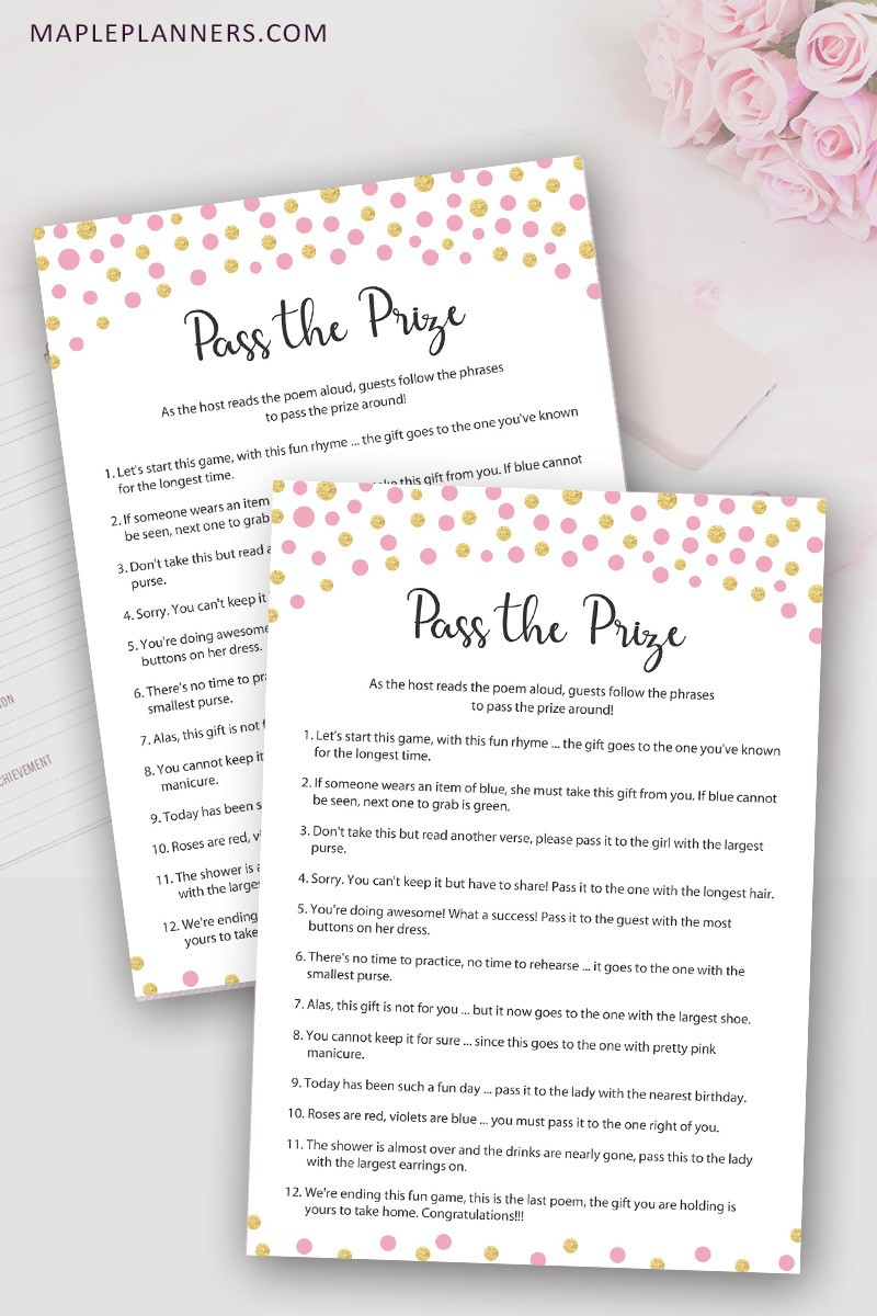 image regarding Pass the Prize Baby Shower Game Free Printable named How in the direction of Participate in P the Prize Rhyme Little one Shower Match - Maple