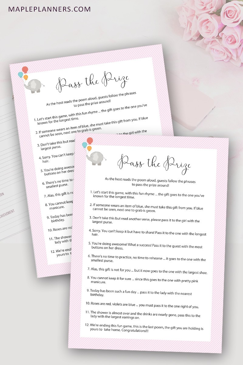 photo regarding Baby Shower Pass the Prize Rhyme Printable referred to as How toward Perform P the Prize Rhyme Child Shower Activity - Maple