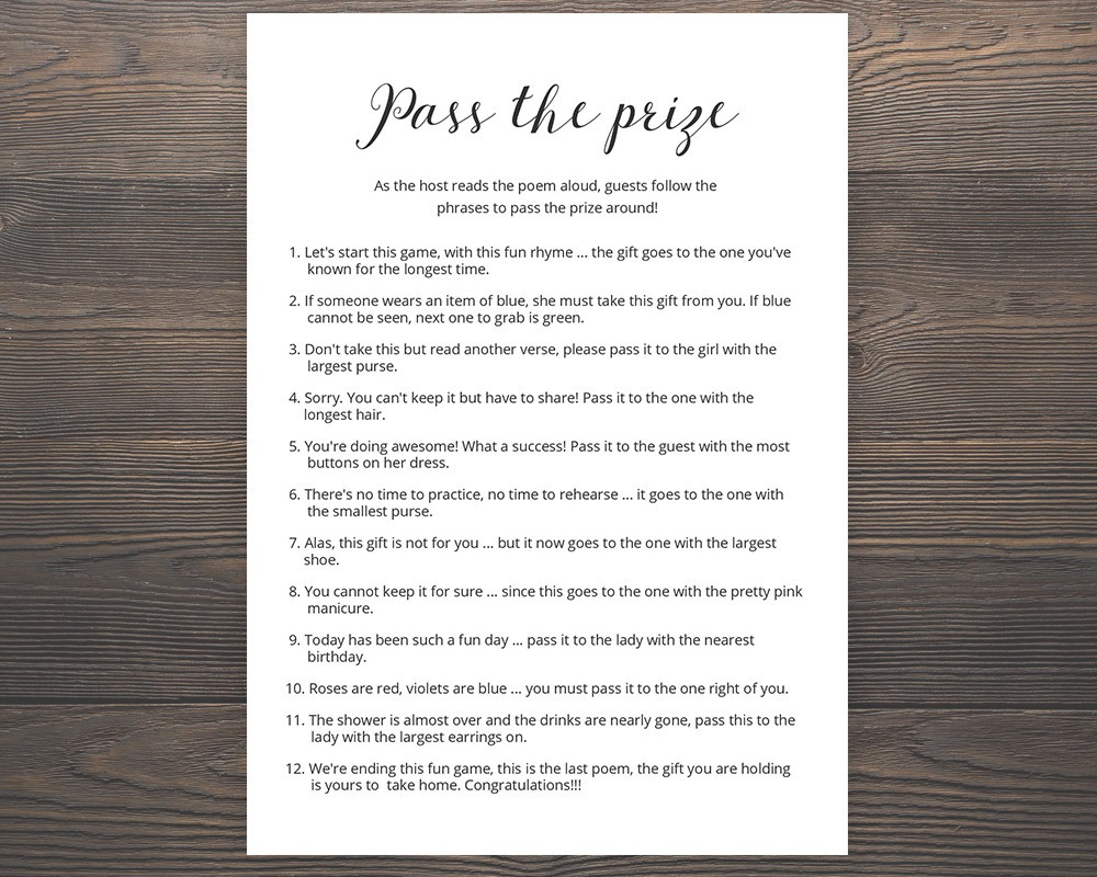 graphic relating to Pass the Prize Baby Shower Game Free Printable named Kid Shower Video games P The Reward Rhyme - Reward Tips