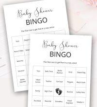 Prefilled Baby Bingo Cards