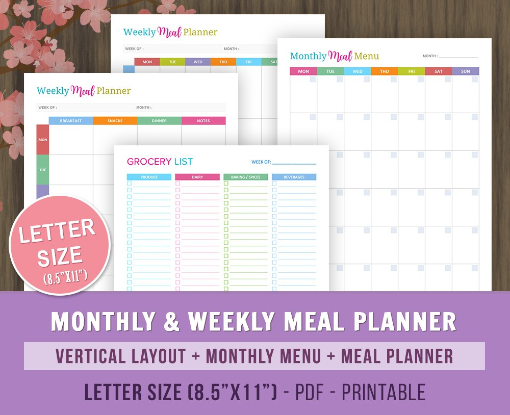 Weekly Monthly Meal Planner