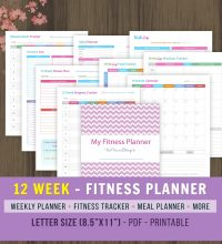 12 Week Fitness Planner; Weight loss Journal