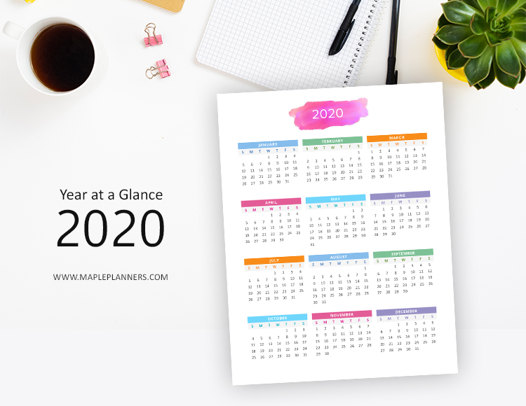 Year at a Glance 2020 and 2021 - Yearly Calendar