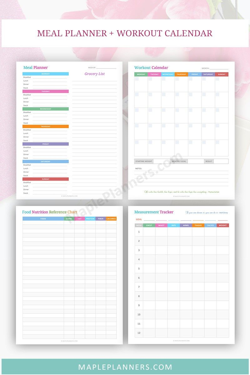 Meal Planner and Measurement Tracker - Fitness Planner