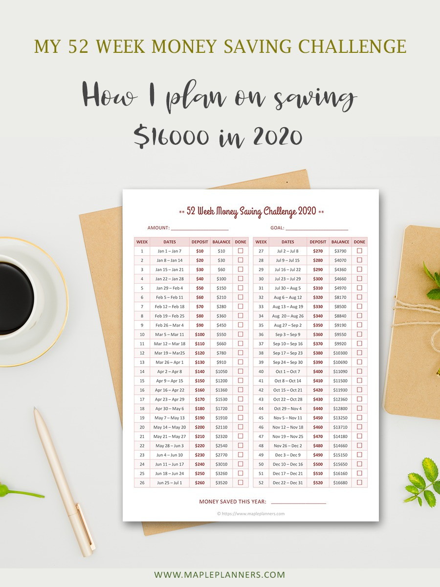 52 Week Money Saving Challenge - How I plan to save $16000 in 2020
