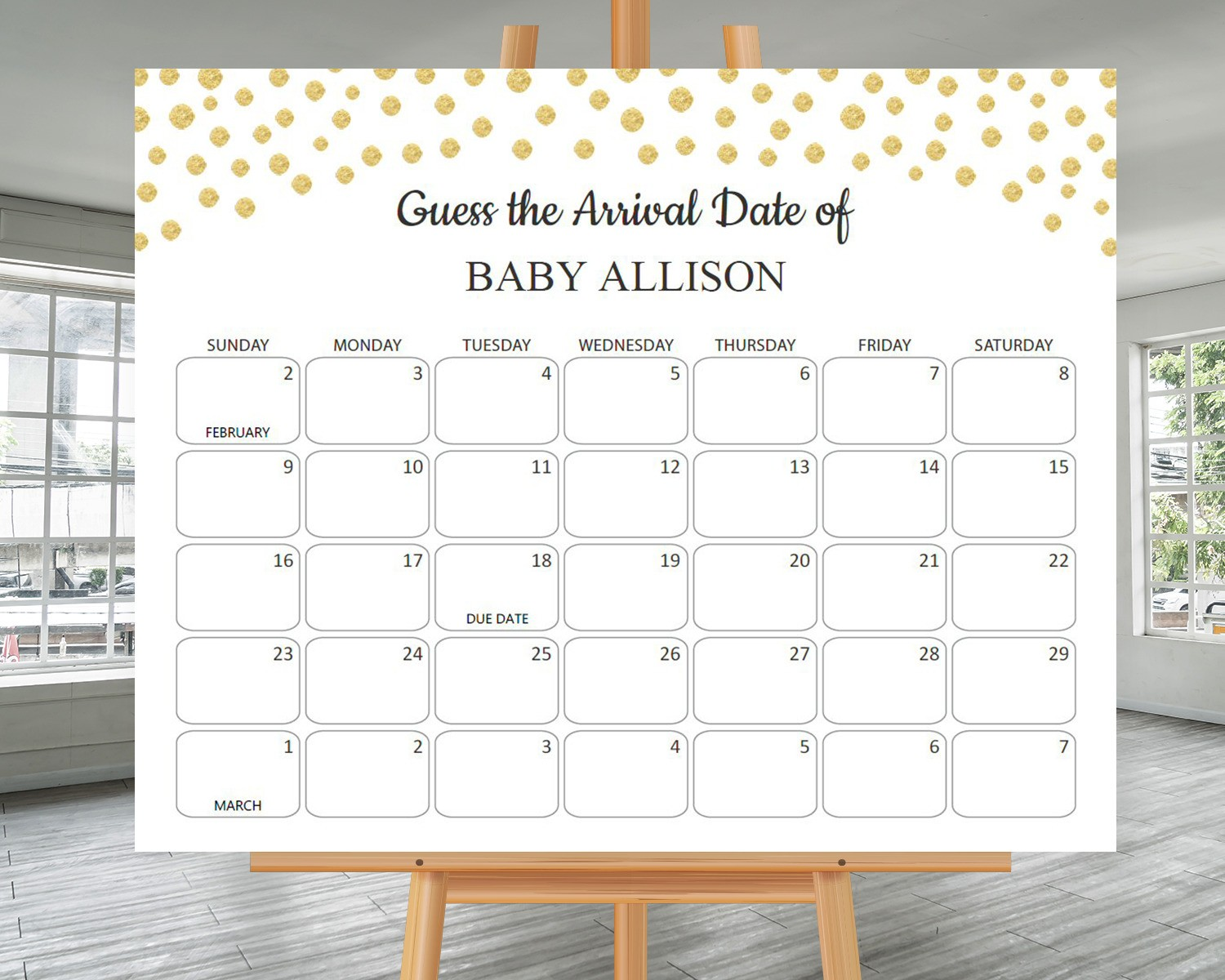 How to play baby due date prediction calendar game