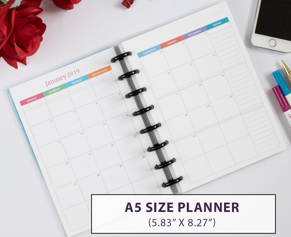 A5 Monthly Weekly Planner 2019