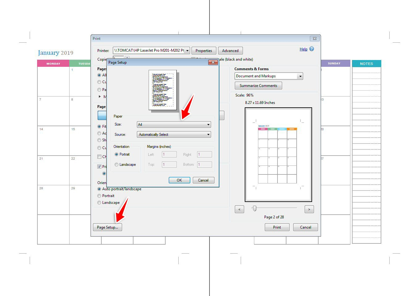 Change the paper size using page setup
