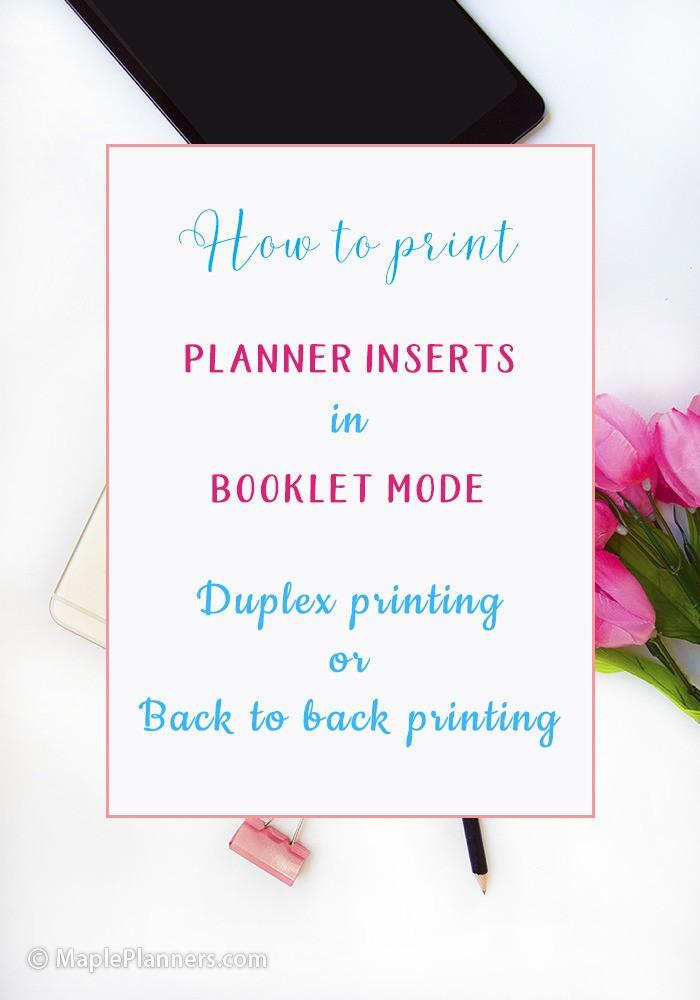 How to print planner pages in booklet mode