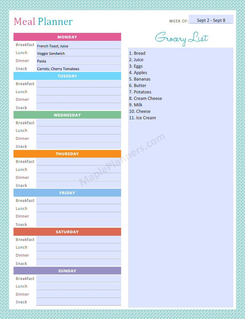 Meal Planner - Editable Recipe Binder