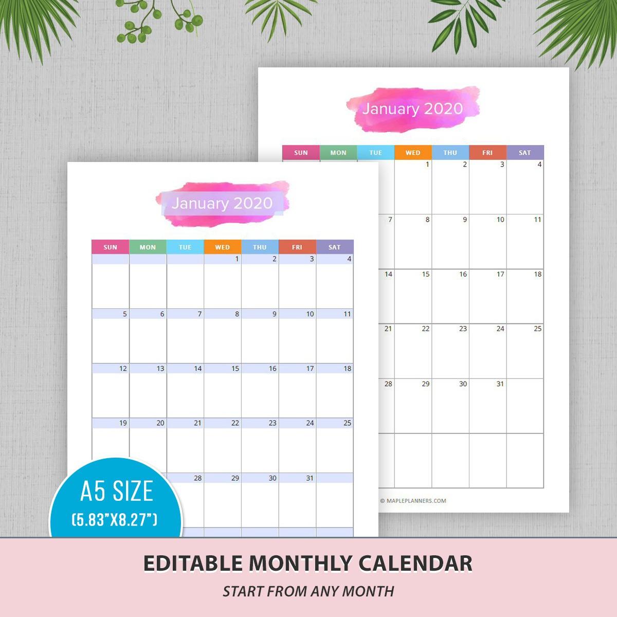 Editable Monthly Calendar - Edit Yourself