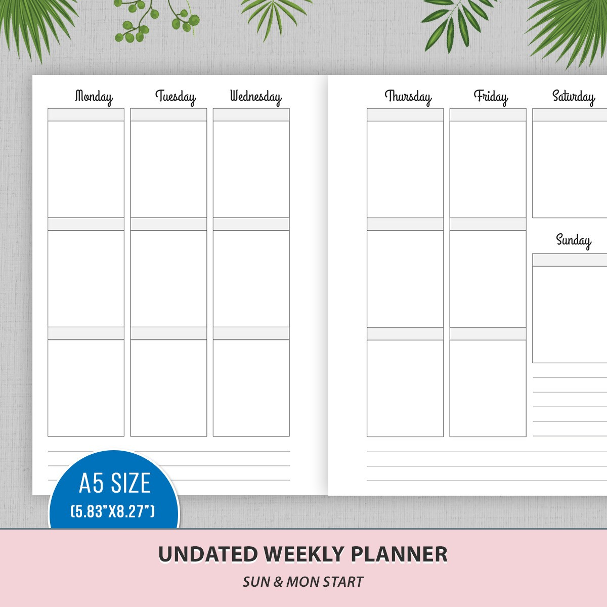 A5 Undated Vertical Weekly Planner