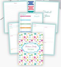 Editable Recipe Binder; Printable Planner
