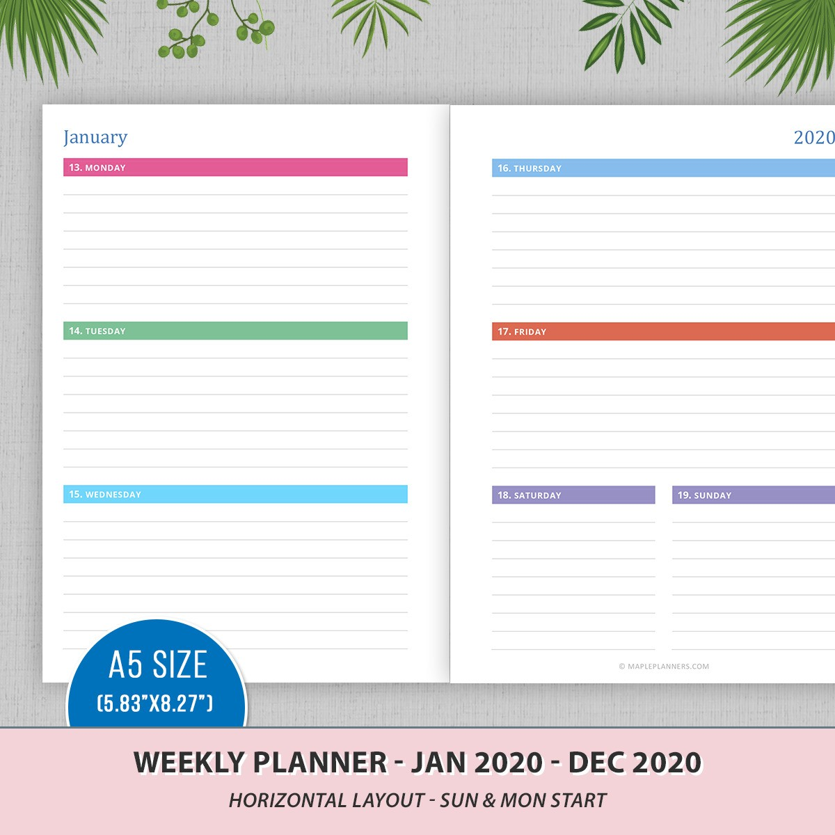 A5 Weekly Planner 2020 - Horzontal Layout