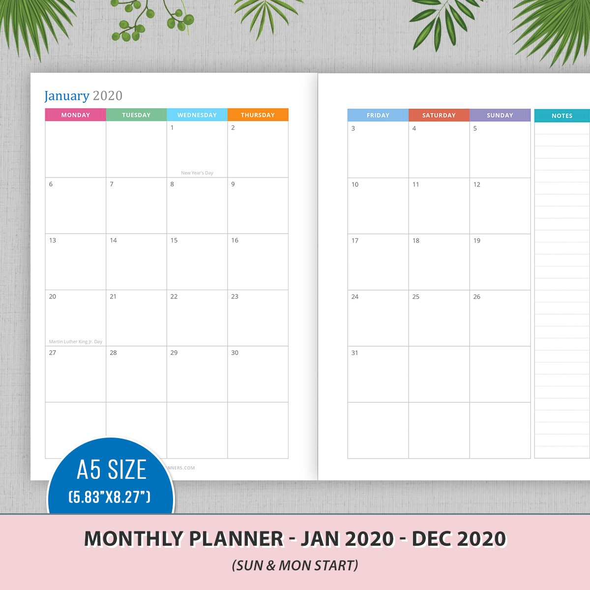 A5 Monthly Planner 2020 - MO2P