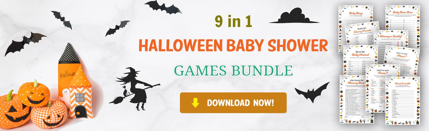 download halloween baby shower games bundle