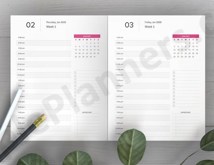 Vertical Weekly Planner 2020