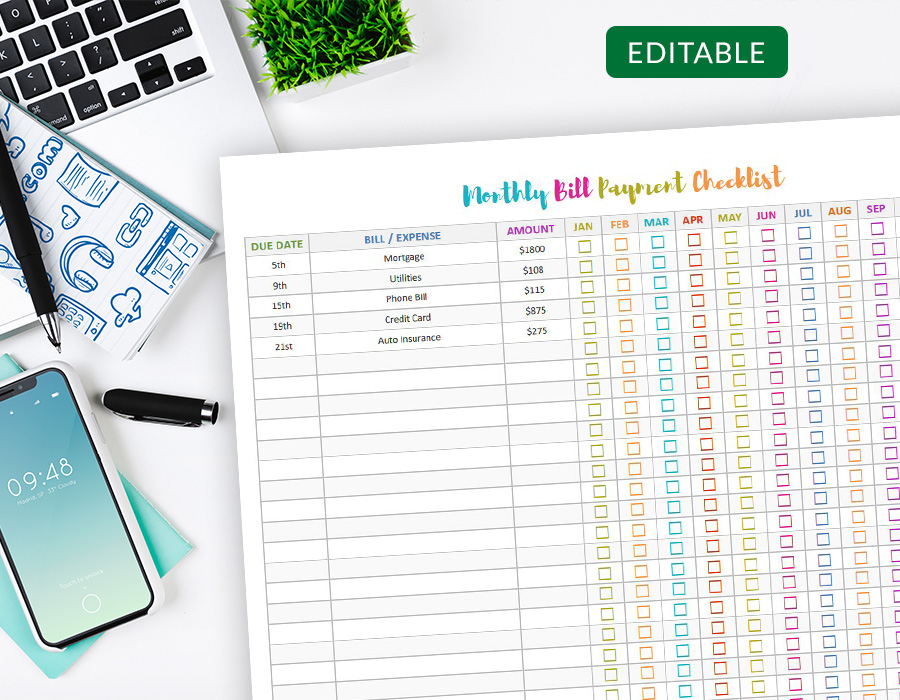 Editable Monthly Bill Payment Checklist