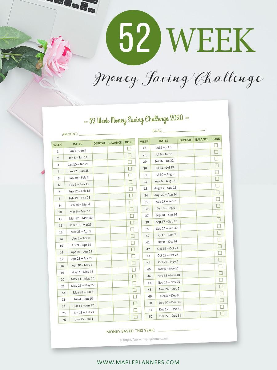 Empty Template for 52 Week Money Saving Challenge