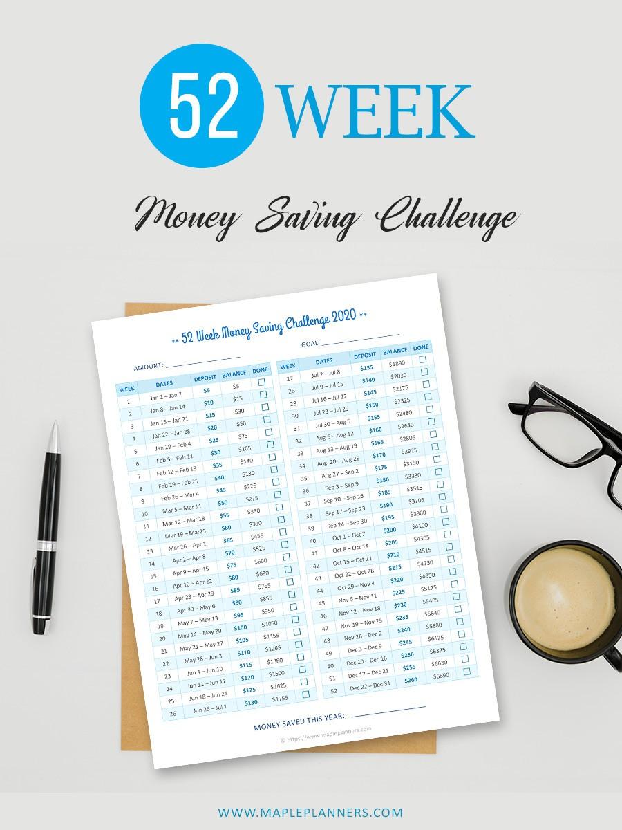 $5 increments for 52 Week Money Challenge 2020