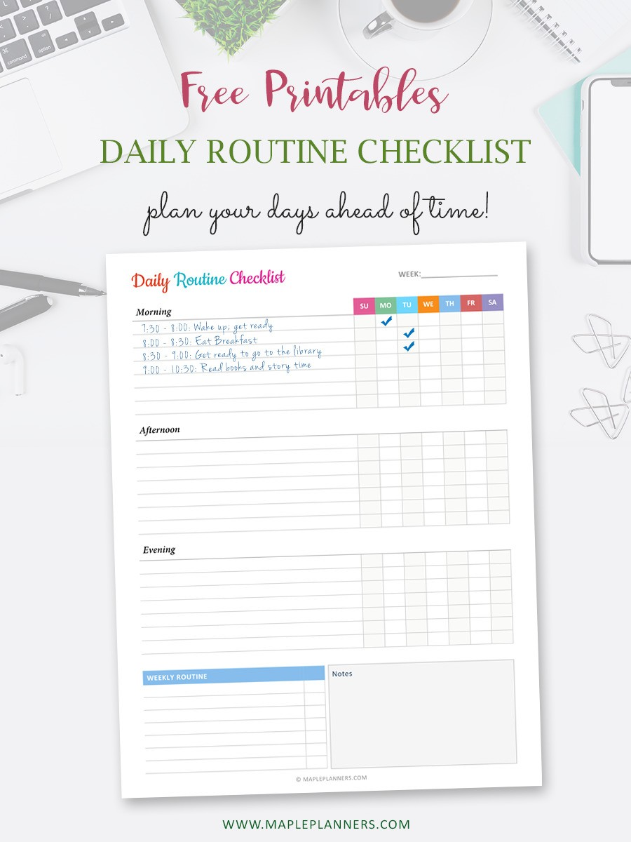 Daily Routine Tracker Printable