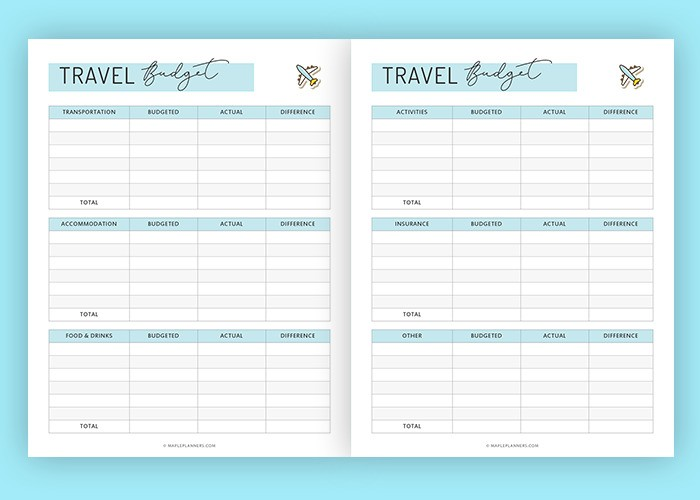 Travel Budget Planner Printable