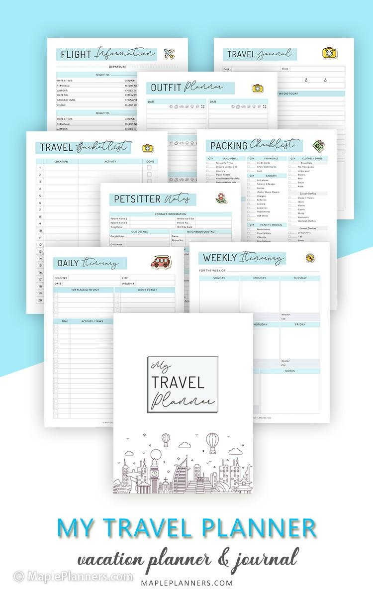 My Travel Planner Binder Kit Printable