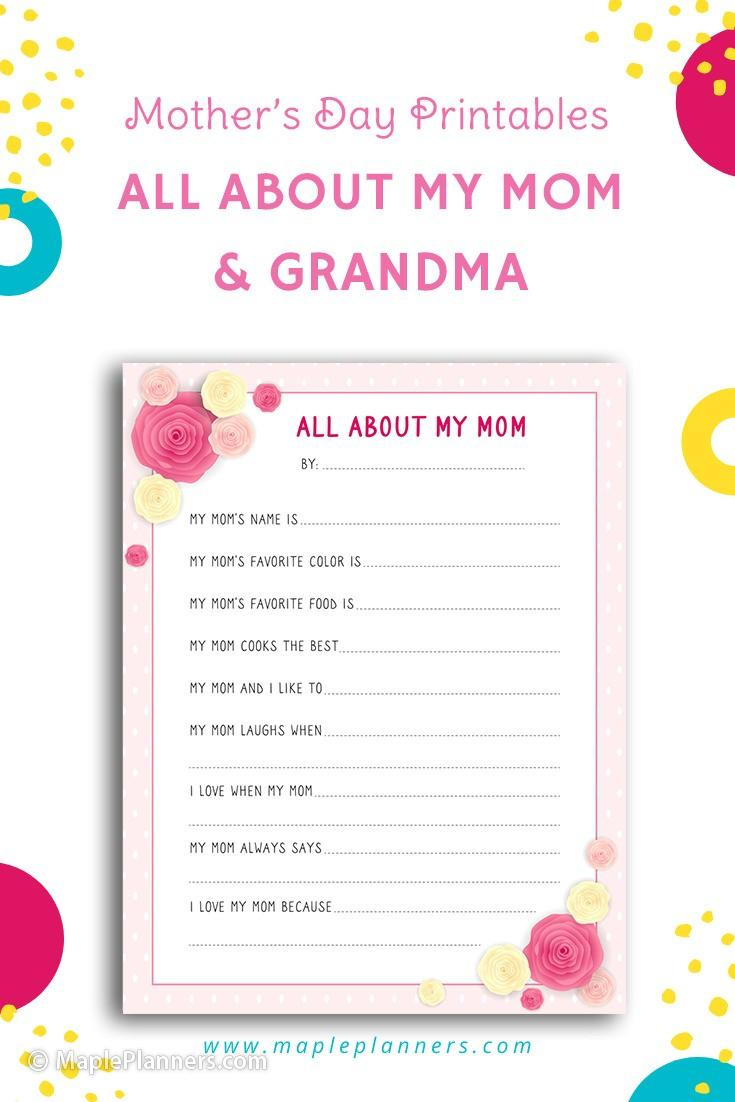All about my mom printables for Mothers Day